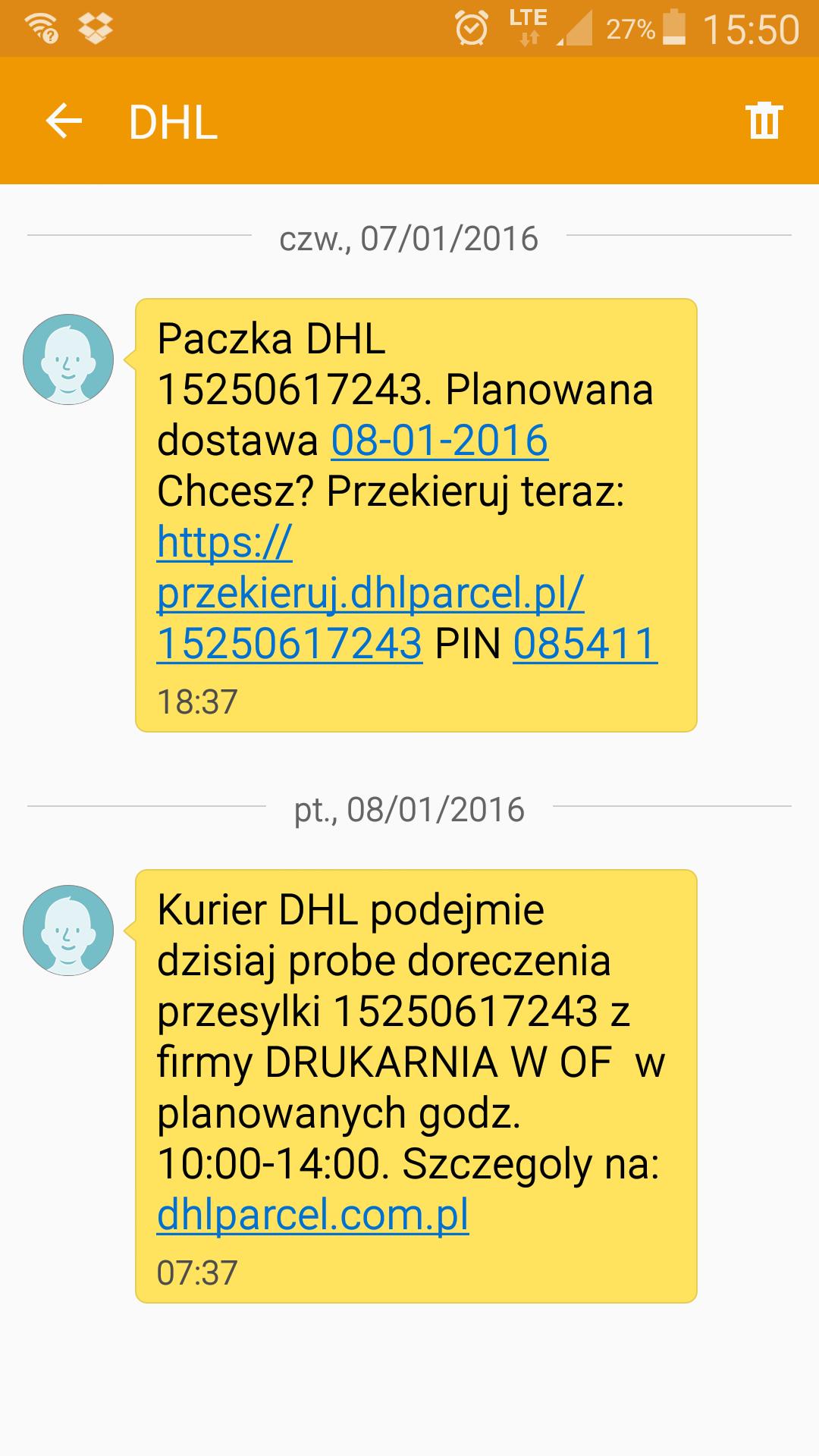 Nowe usługi sms oferowane przez DHL