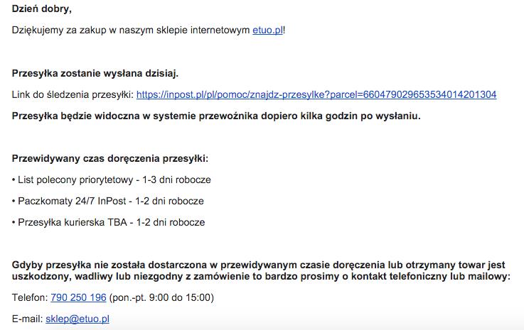 Jak powinna brzmieć treść maila, aby klient był dobrze poinformowany.