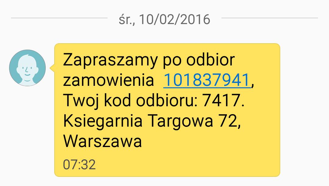 Treść SMS informująca o możliwości odbioru przesyłki.