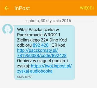 Treść SMS informująca klienta o możliwości odbioru zamówienia.