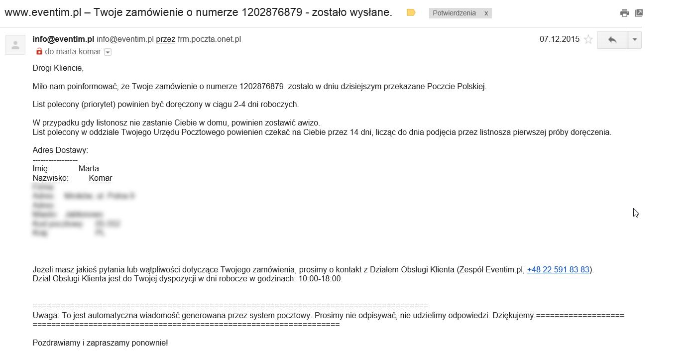 Mail do klienta z potwierdzeniem wysłania zamówienia.