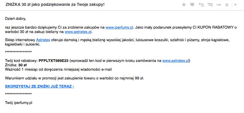 Treść maila z informacją o zniżce zachęcającej do skorzystania z oferty sklepu raz jeszcze.
