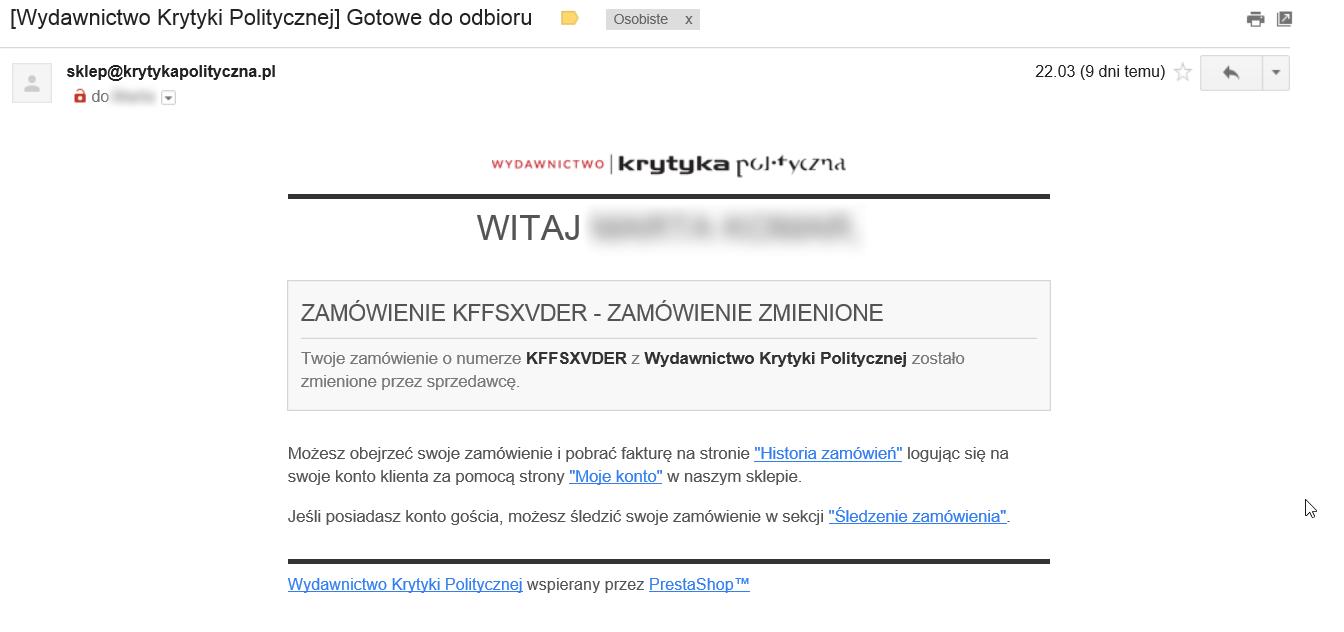 Błędy w treści maili informujących o statusie zamówienia.