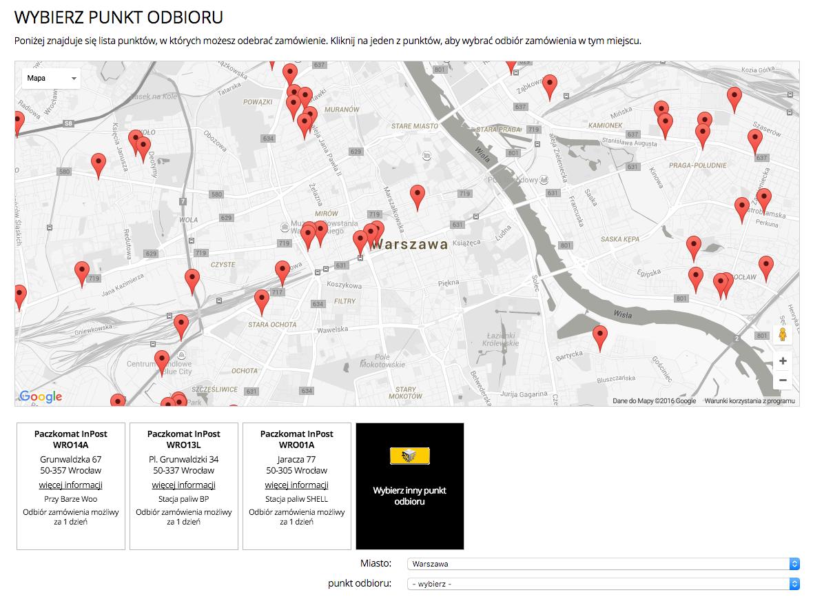 Mapka z listą dogodnych miejsc do odebrania przesyłki.