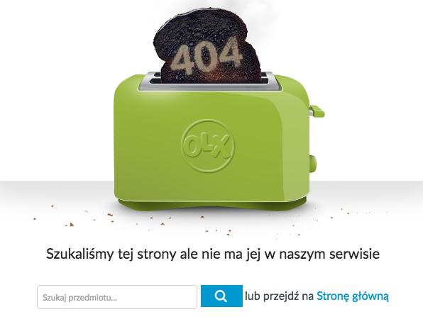 Kreatywna strona błędu 404 - OLX.pl