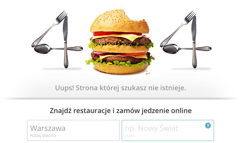 Kreatywna strona błędu 404 - Pyszne.pl