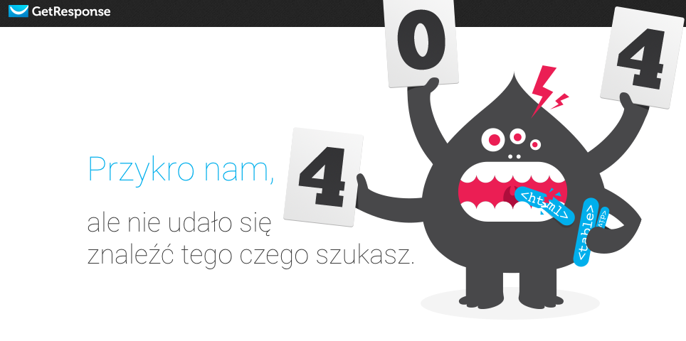 Kreatywna strona błędu 404 - GetResponse