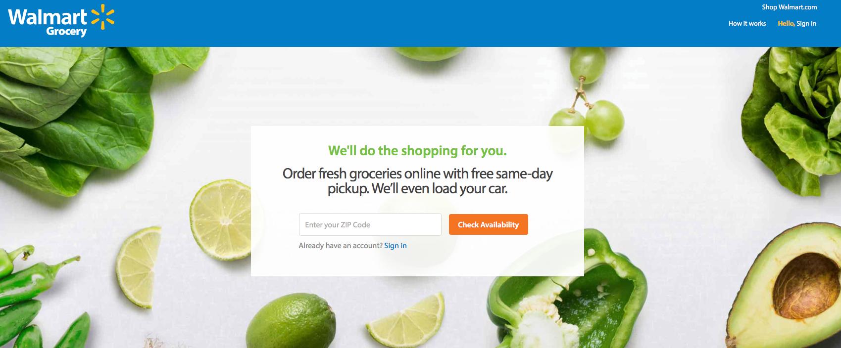 Odbiór towarów w PickUp Grocery Walmart