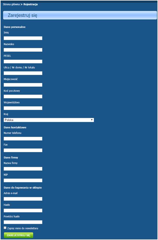 Formularz rejestracyjny w e-sklepie nie powinien wymagać podania zbyt dużo osobistych danych.