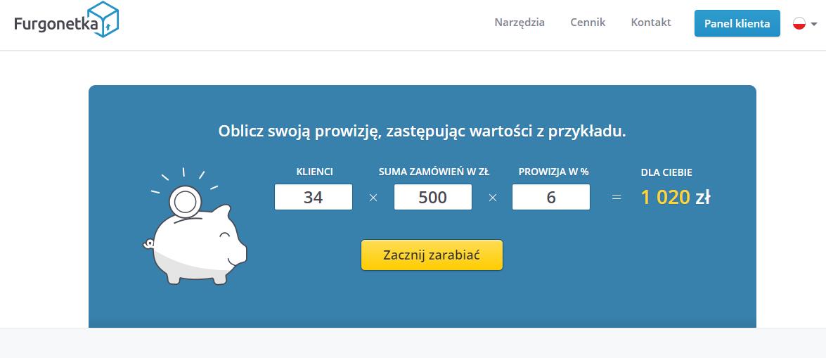 """Jak za pomocą kalkulatora prowizji w łatwy sposób wyliczysz dochód z udziału w programie partnerskim """"Zarabiaj z Furgonetka.pl""""?"""