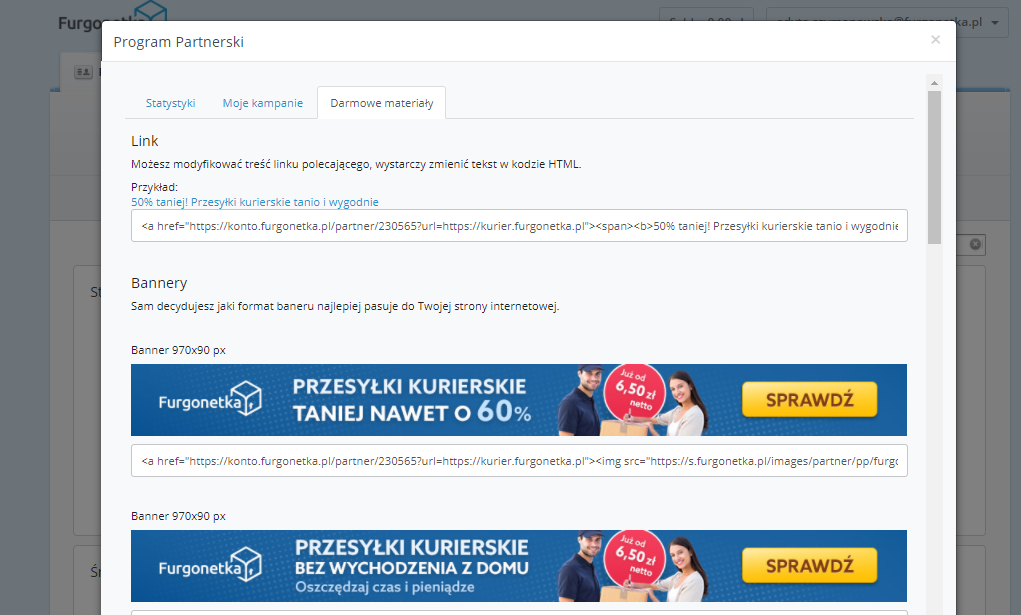"""Program partnerski """"Zarabiaj z Furgonetka.pl"""" udostępnia darmowe materiały reklamowe do promocji usług w Internecie."""