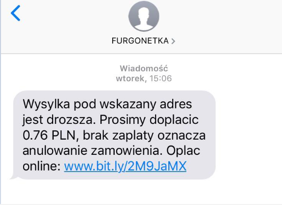 Uwaga Fałszywe wiadomości SMS podszywające się pod Furgonetka.pl