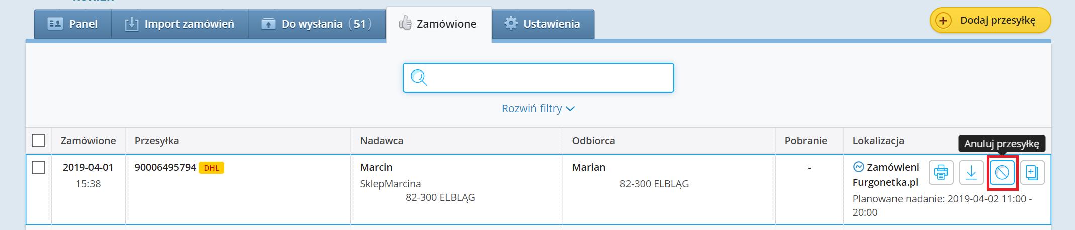 Opcja samodzielnego anulowania każdej przesyłki na Furgonetka.pl
