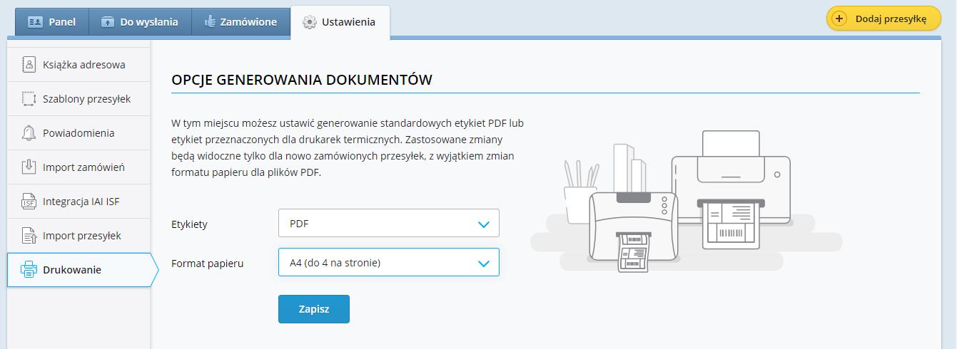 Nowe opcje drukowania w serwisie Furgonetka.pl