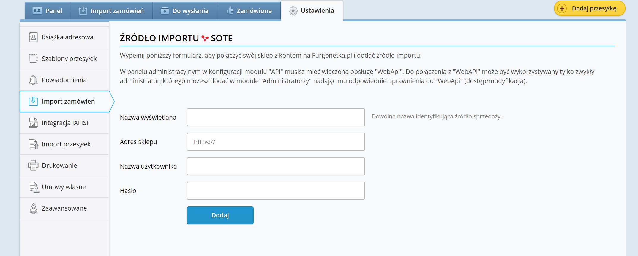 Integracja Furgonetka.pl z Sote Shop