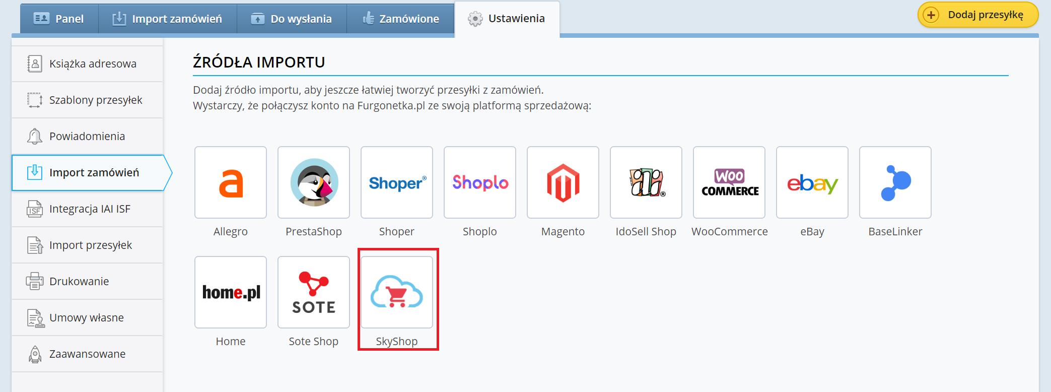 Jak dodać SkyShop jako nowe źródło sprzedaży na Furgonetka.pl