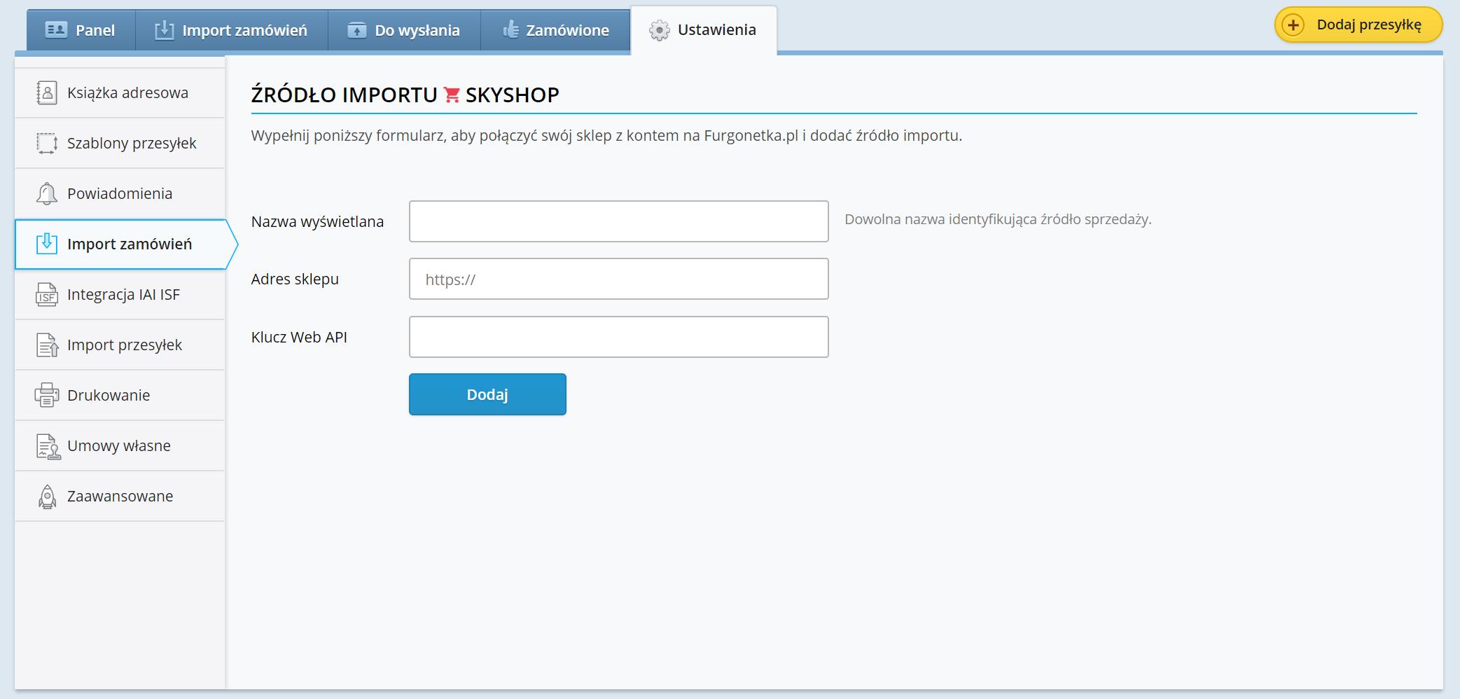 SkyShop jako nowe źródło importu na Furgonetka.pl