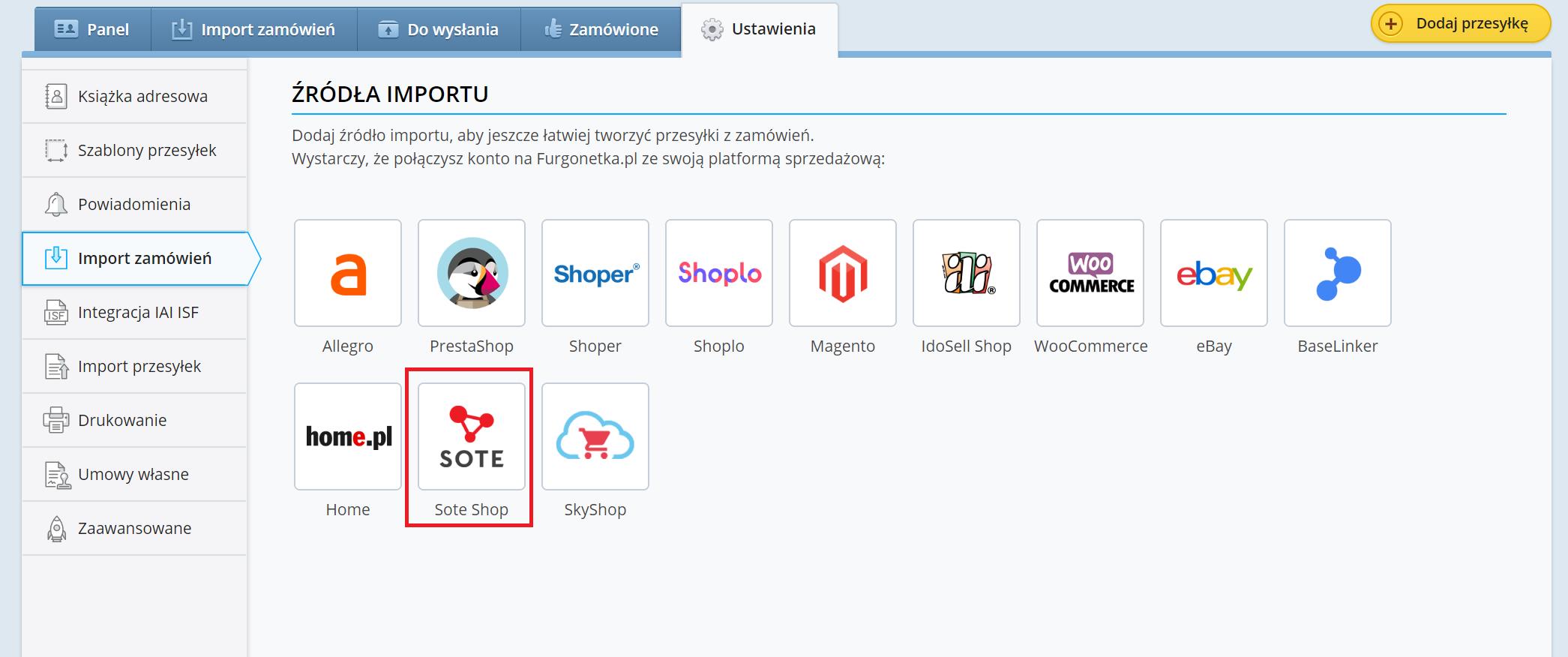 Jak dodać Sote Shop jako nowe źródło sprzedaży na Furgonetka.pl