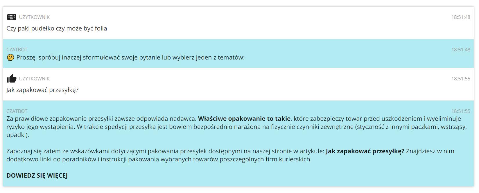 Jak działa czatbot na Furgonetka.pl w przypadku niezrozumienia pytania?