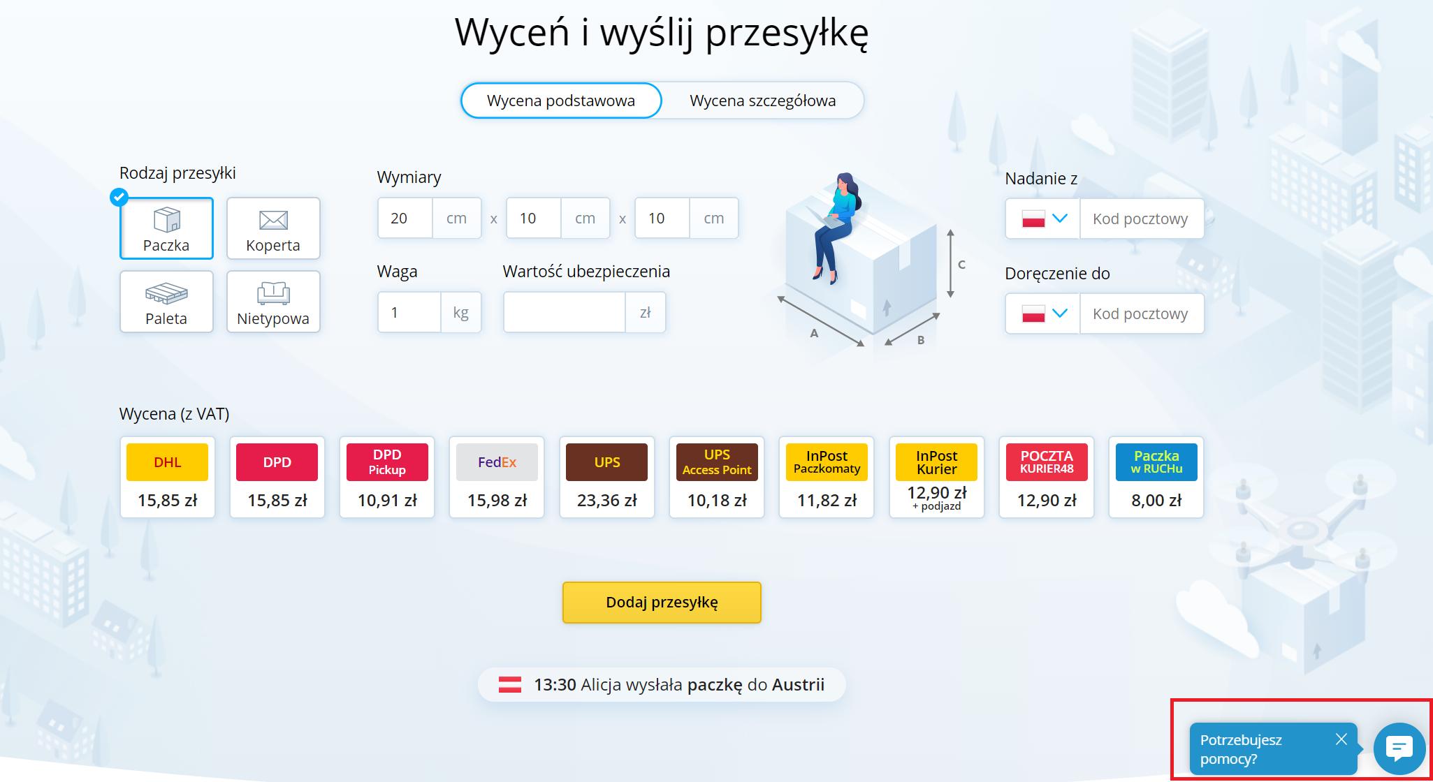 Gdzie znaleźć czat na stronie Furgonetka.pl?