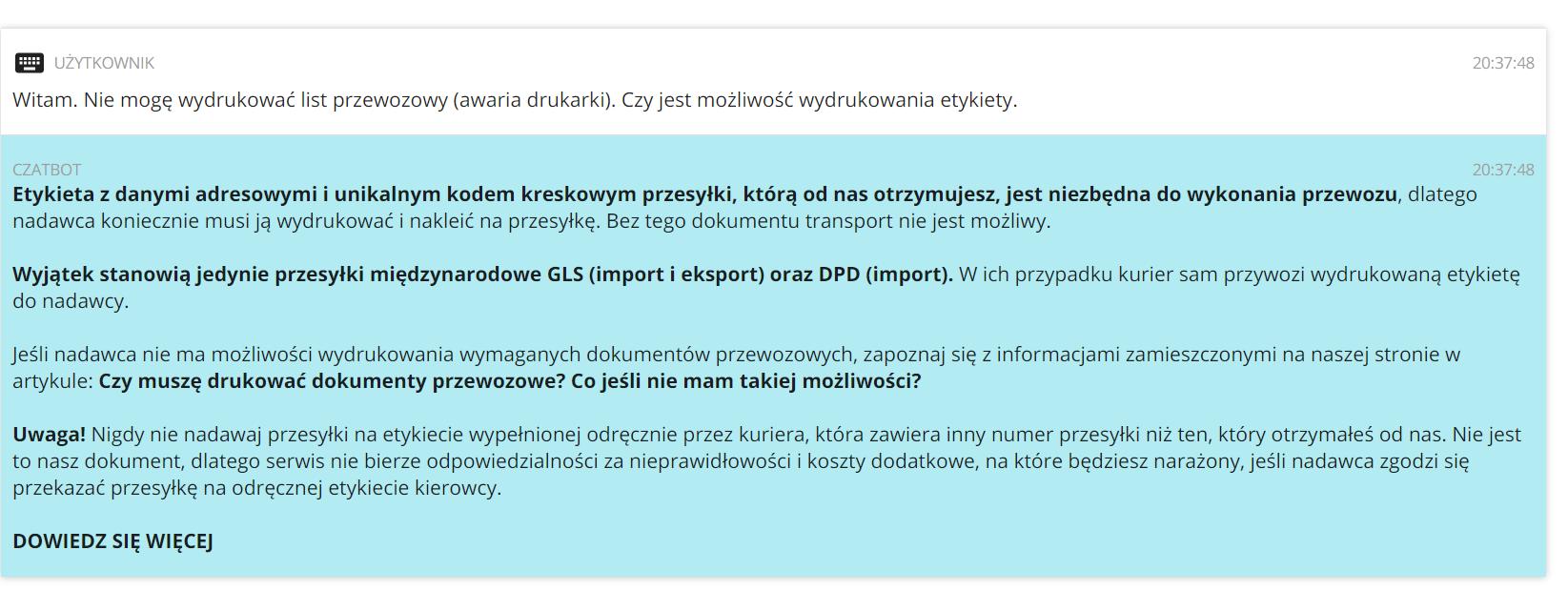 Jak uzyskać informacje o drukowaniu etykiet przez czatbota na Furgonetka.pl?