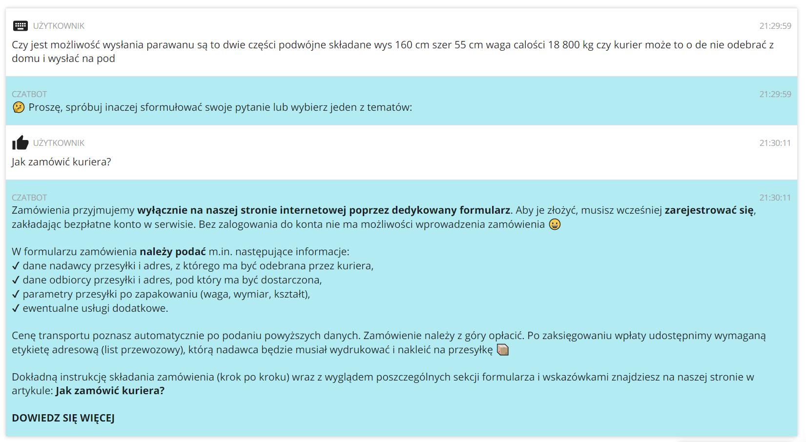 Co zrobić, kiedy czatbot na Furgonetka.pl nie zrozumie pytania?